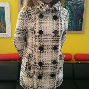 Jackets & Coats - 30%/4. WINTER PEACOAT WHITE BLACK PLAID GIRLS MED